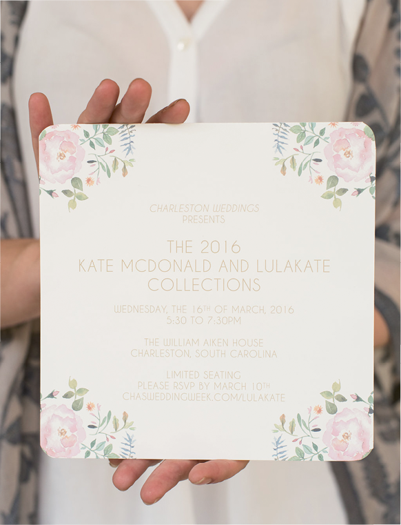 Kate McDonald & LulaKate Presentation: Dodeline Design's watercolor invitations. Photographed at the William Aiken House by Marni Rothschild Pictures