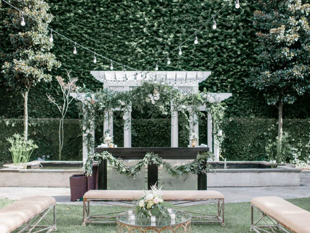 Wedding design, decor, and rentals by Ooh! Events. Florals by Out of the Garden. Photograph by Brandon Lata at the William Aiken House.