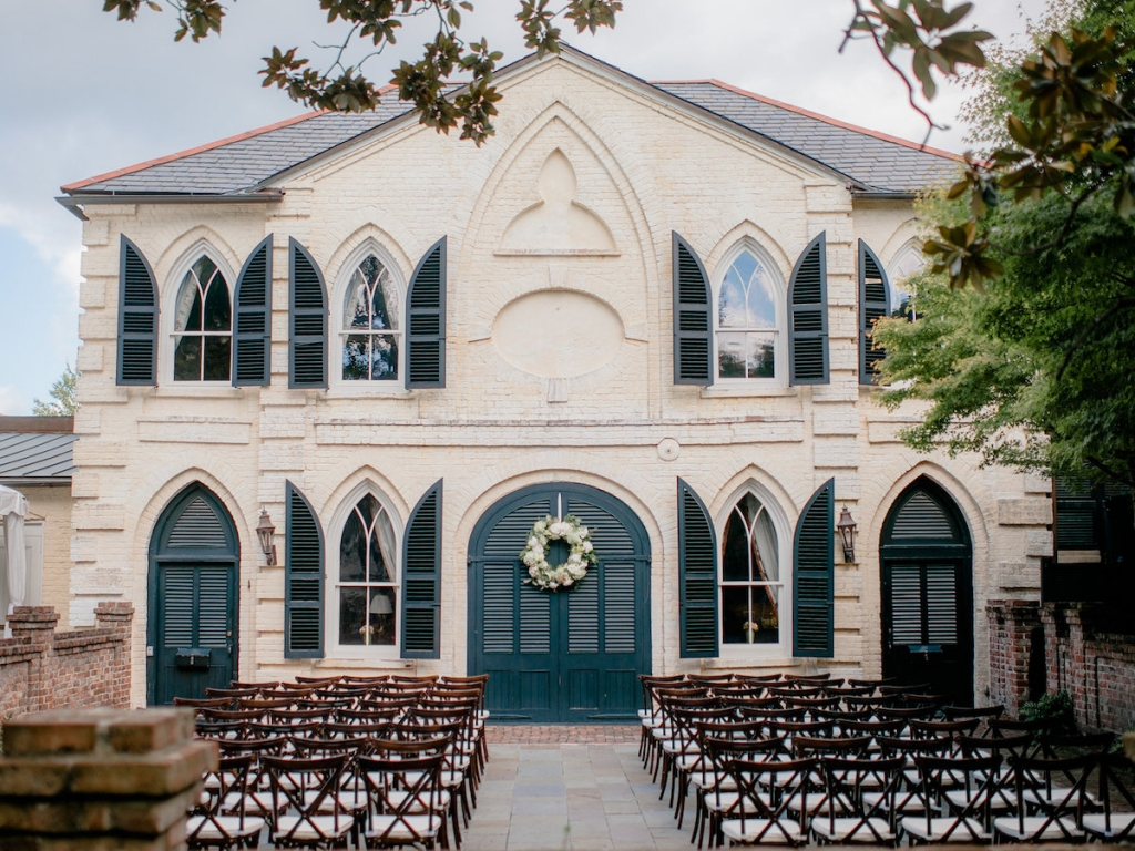 Wedding design and rentals by Ooh! Events. Photograph by Brandon Lata at the William Aiken House.