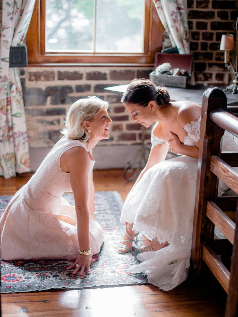 Bride's gown by Romona Keveza, available in Charleston through Maddison Row. Photograph by Brandon Lata at the William Aiken House.