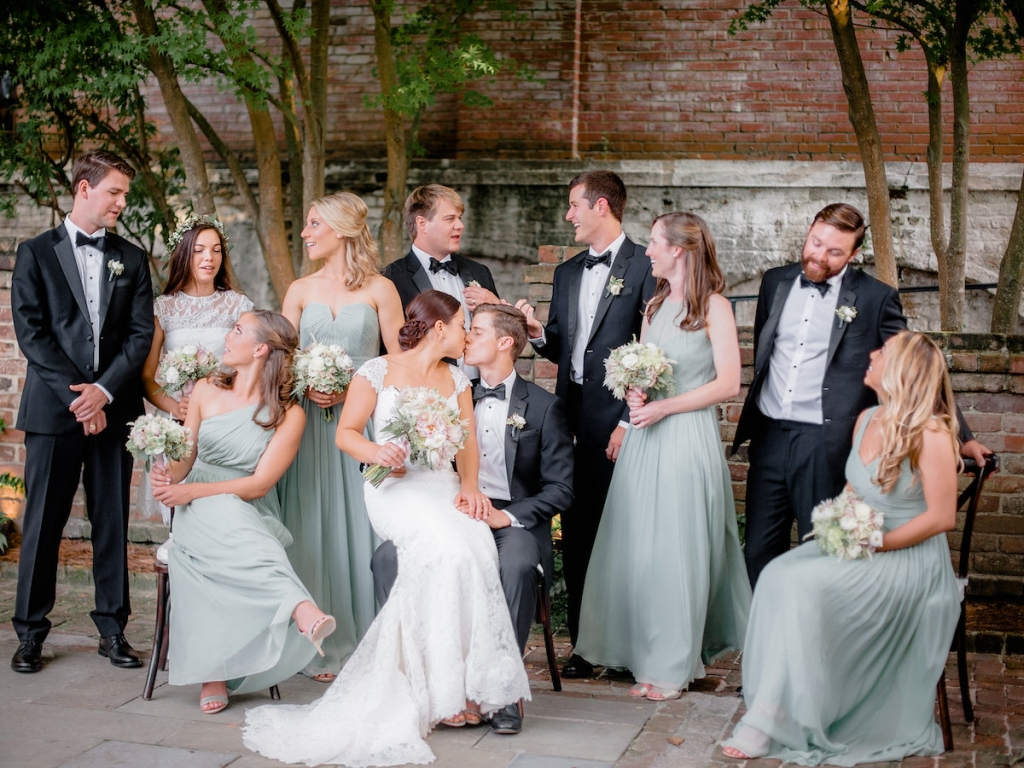 Bride's gown by Romona Keveza, available in Charleston through Maddison Row. Bridesmaid gowns from J.Crew. Menswear from The Black Tux. Photograph by Brandon Lata at the William Aiken House.