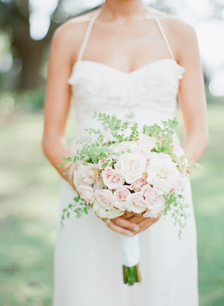 Bouquet by Tara Guérard Soirée. Bridesmaid gown by Amsale, available in Charleston through Bella Bridesmaids. Photograph by Elizabeth Messina.