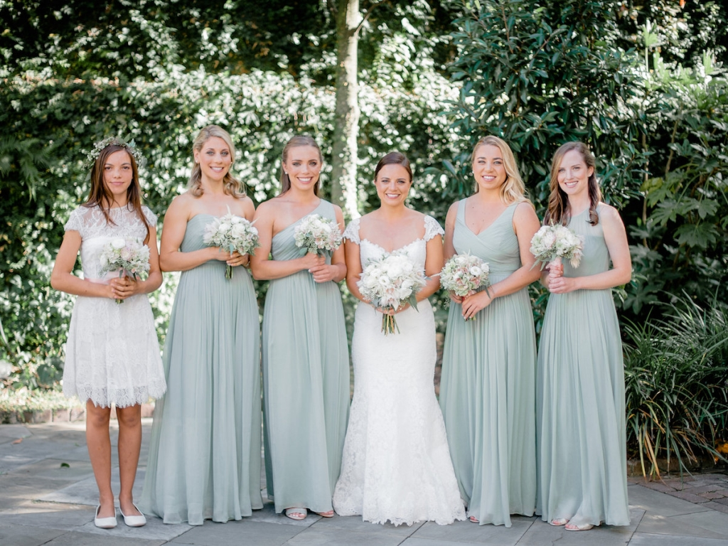 Florals by Out of the Garden. Bride's gown by Romona Keveza, available in Charleston through Maddison Row. Bridesmaid gowns from J.Crew. Photograph by Brandon Lata at the William Aiken House.