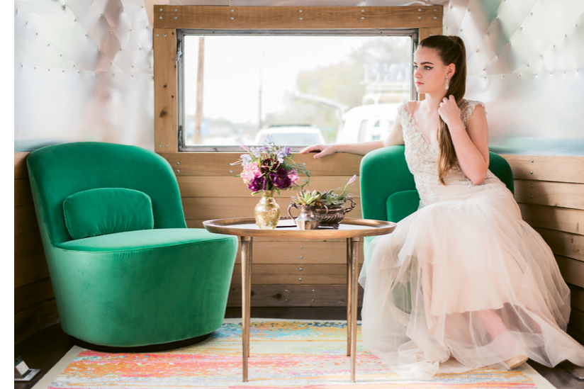 Ooh! What a Pop-Up Party: Ooh! Luminous Airstream. Gown by Lovely Bride. Photographed at Ooh! Events Design Center by Marni Rothschild Pictures