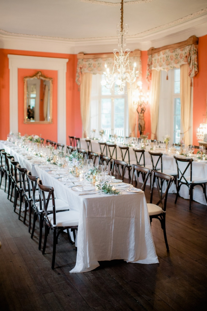 Wedding design by Ooh! Events. Linens from Connie Duglin Speciality Linen. Photograph by Brandon Lata at the William Aiken House.