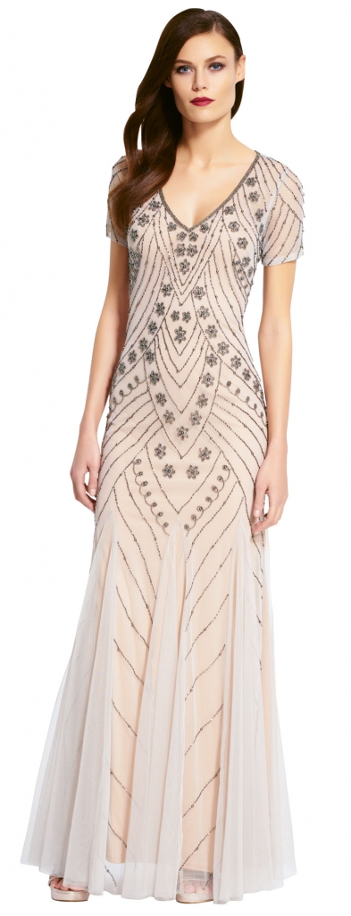 {Timeless Trend}  Beaded Sheath; gown: style 9191680 by Adrianna Papell; Bella Bridesmaids