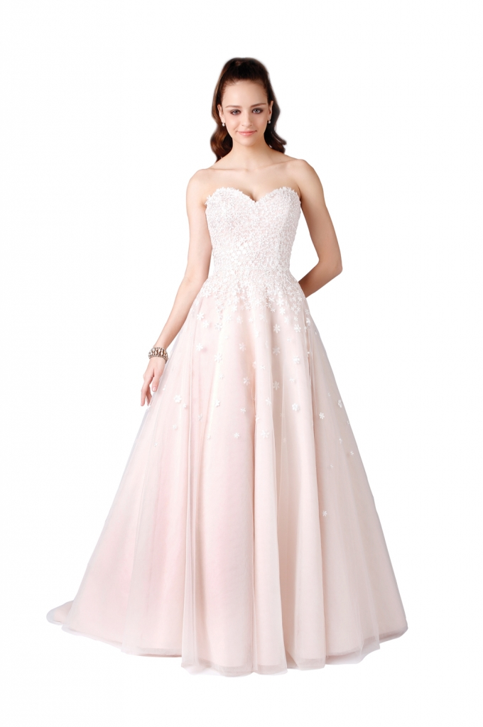 """TREND: Pink, pink, pink! GOWN: Modern Trousseau's """"Cora,"""" available through Modern Trousseau flagship stores in Charleston, Savannah, and Nashville. Note: Modern Trousseau has a whole crop of new pink frocks. Check out their site for the latest."""