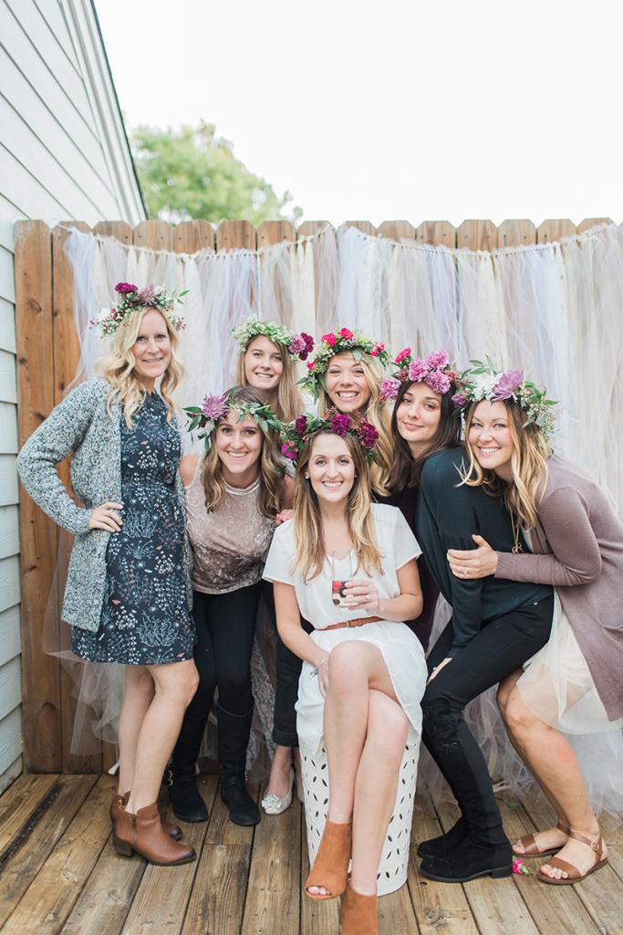 The bride wore her flower crown in an engagement portrait session the next day.
