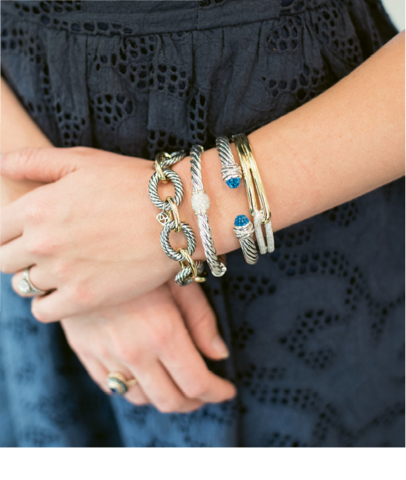 Sip & See At REEDS® Jewelers: David Yurman bracelets. Photograph by Marni Rothschild Pictures