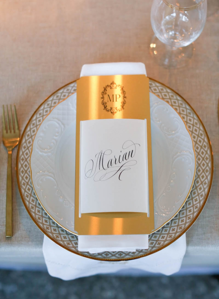 Menu by Lettered Olive. Wedding and floral design by Tara Guérard Soirée. Photograph by Elizabeth Messina at Lowndes Grove Plantation.