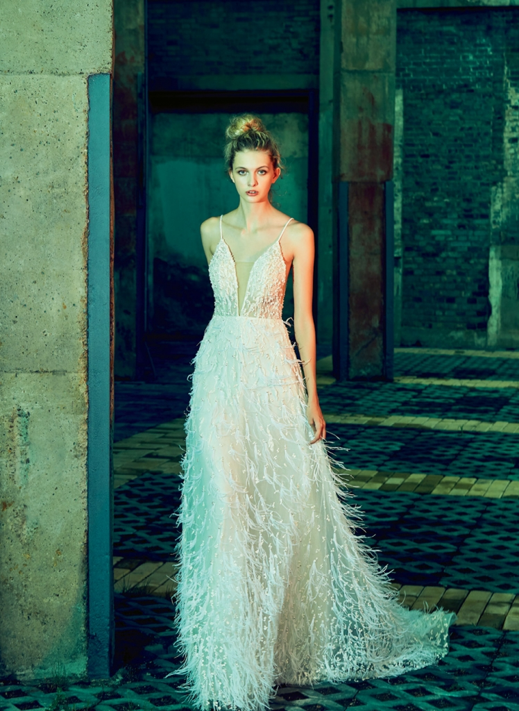 """Fanciful Feathers - Gown: """"Ava"""" by Calla Blanche  Boutique: Available locally through  Verità. A Bridal Boutique"""