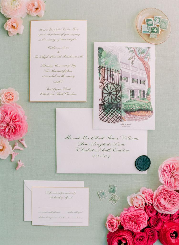 """""""Cate's love of art was a focus in all design decisions—from the use of ombré, to the artist-drawn save-the-dates, to the hand-painted dance floor,"""" says Kristin."""