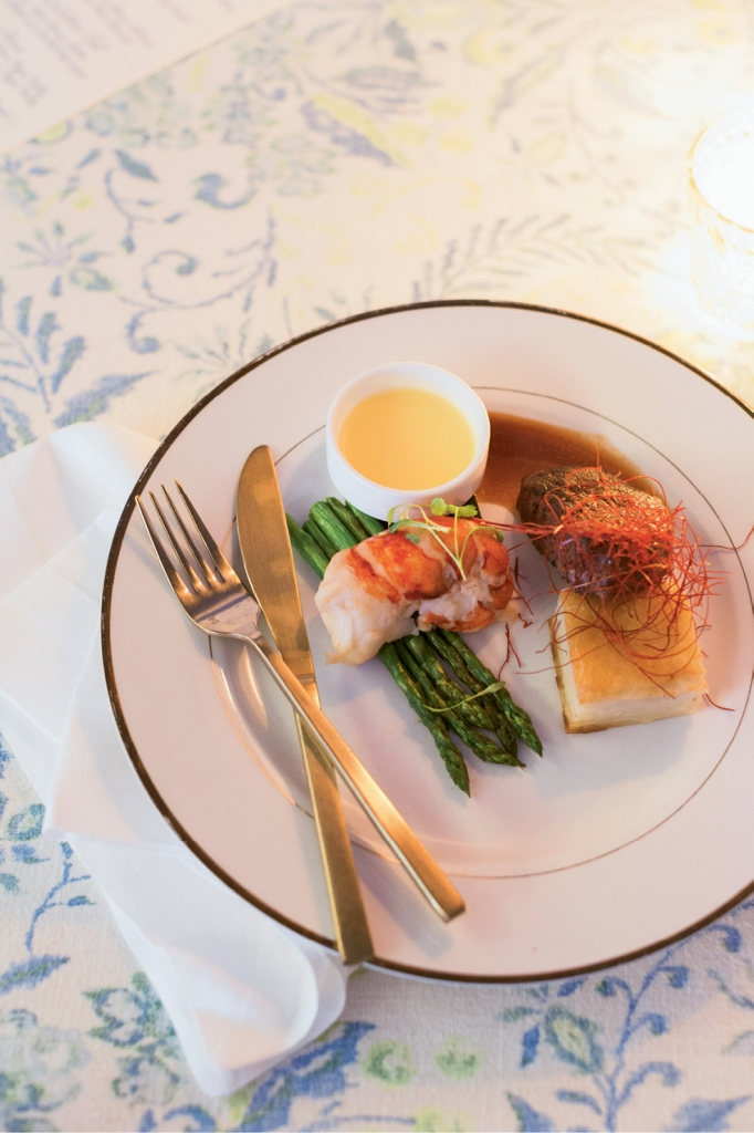 A traditional surf-and-turf meal satiated guests, who enjoyed a lavish five-course dinner.  (Photo by Corbin Gurkin)