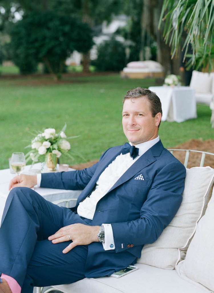 Groom's suit by Michael Andrews. Tie from The Tie Bar. Photograph by Elizabeth Messina at Lowndes Grove Plantation.