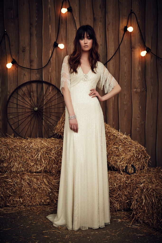 """TREND: Fringe (We love that here it shows up on the sleeves.) GOWN: Jenny Packham's """"Savannah,"""" available in Charleston through White on Daniel Island"""