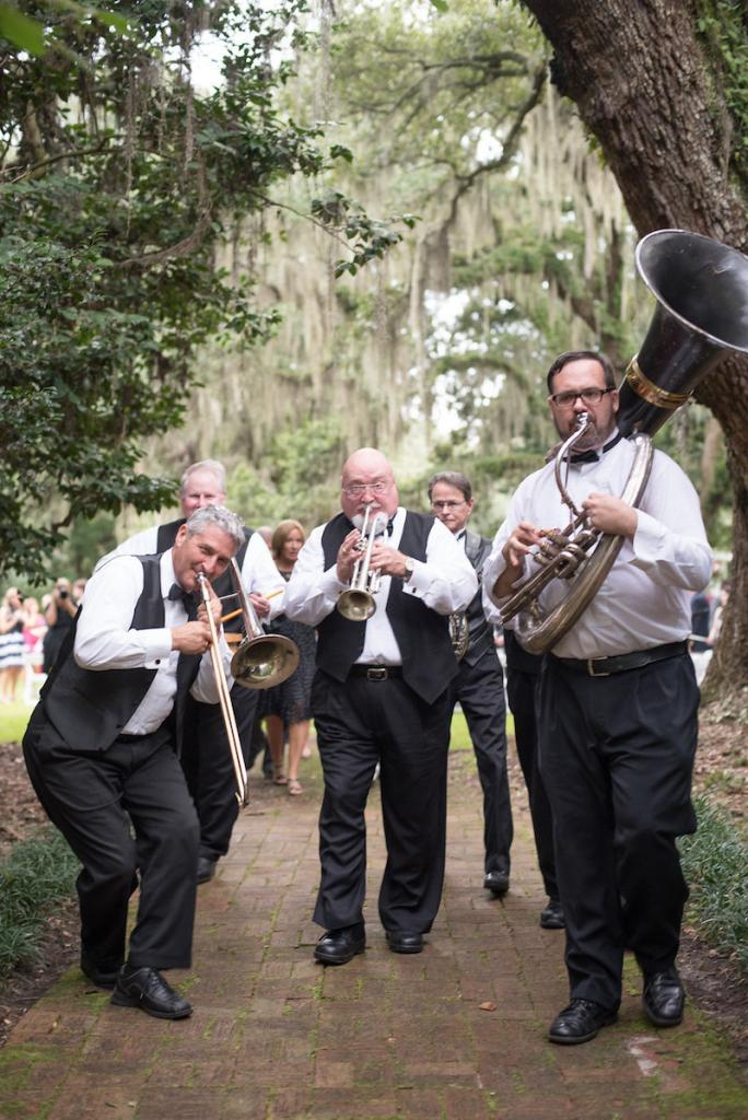 Second-line music by The River City Dixieland Band. Photograph by Marni Rothschild Pictures at the Legare Waring House.
