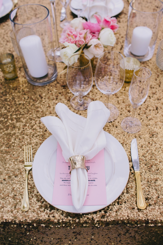 Simple place settings allowed statement linens to shine. <i>Photograph by Hyer Images</i>