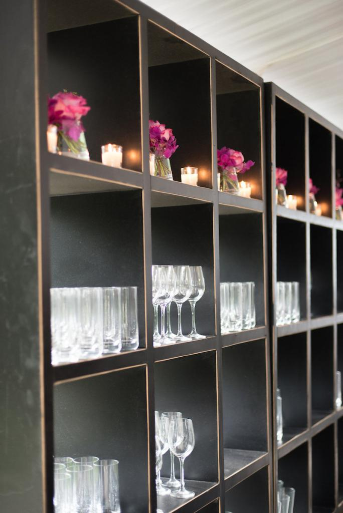 Shelving from Snyder Event Rentals. Photograph by Marni Rothschild Pictures.