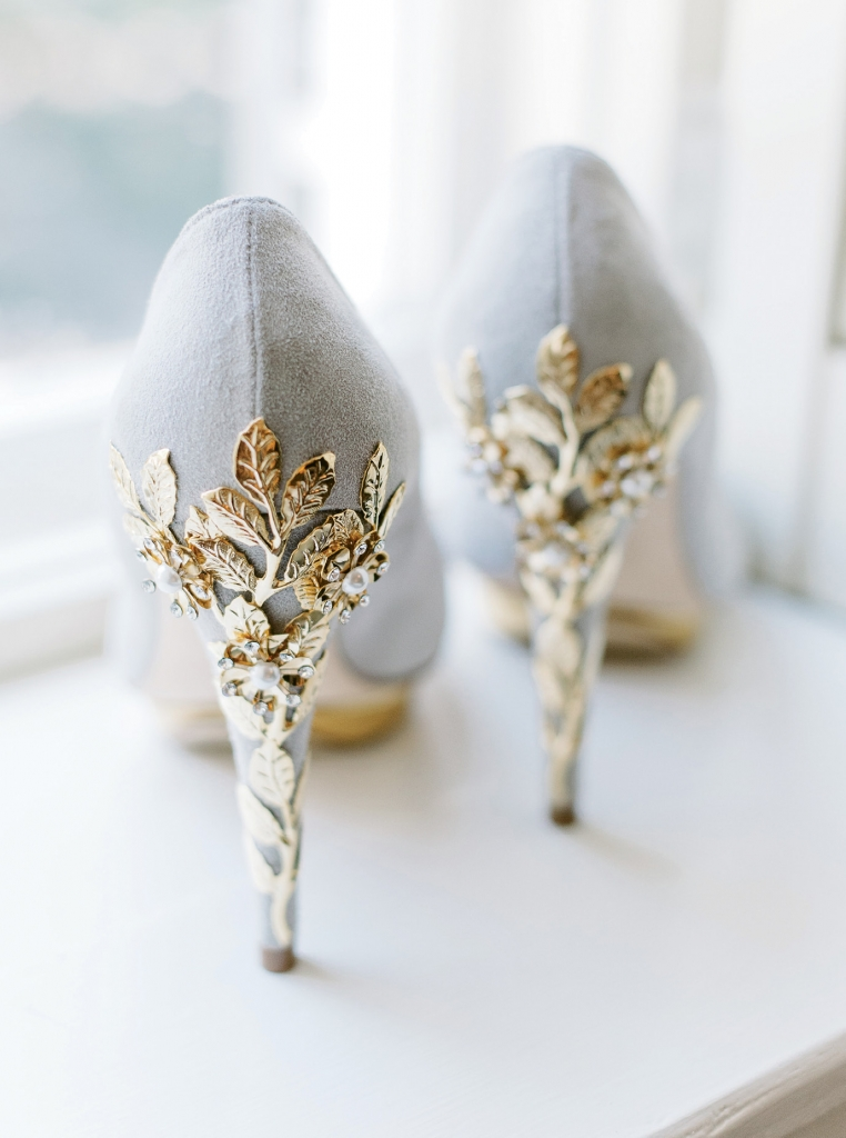The bride wore statement shoes designed by Harriet Wilde to add a touch of glam to her wedding day look. (Photo by Aaron & Jillian Photography)