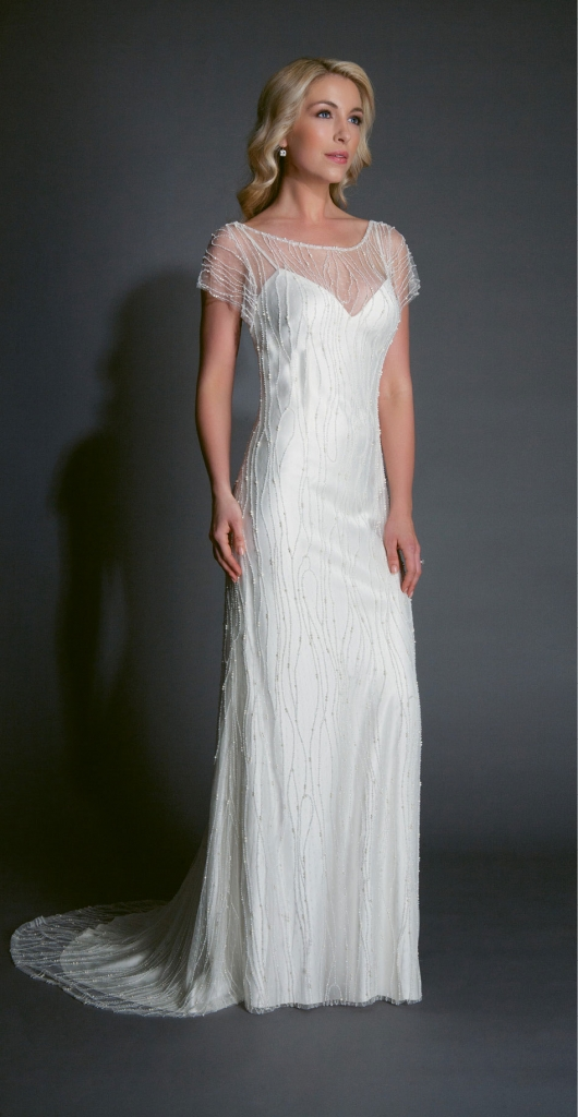 """{Timeless Trend} Beaded Sheath; gown: """"Halston;"""" Modern Trousseau flagship stores in Charleston,  Savannah, and Nashville"""