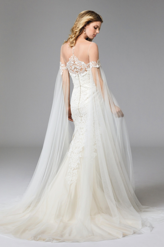 """TREND: Veiled sleeves LOOK: Wtoo's """"Ellie Cape,"""" available in Charleston through Bridals by Jodi, Fabulous Frocks, and Lovely Bride"""