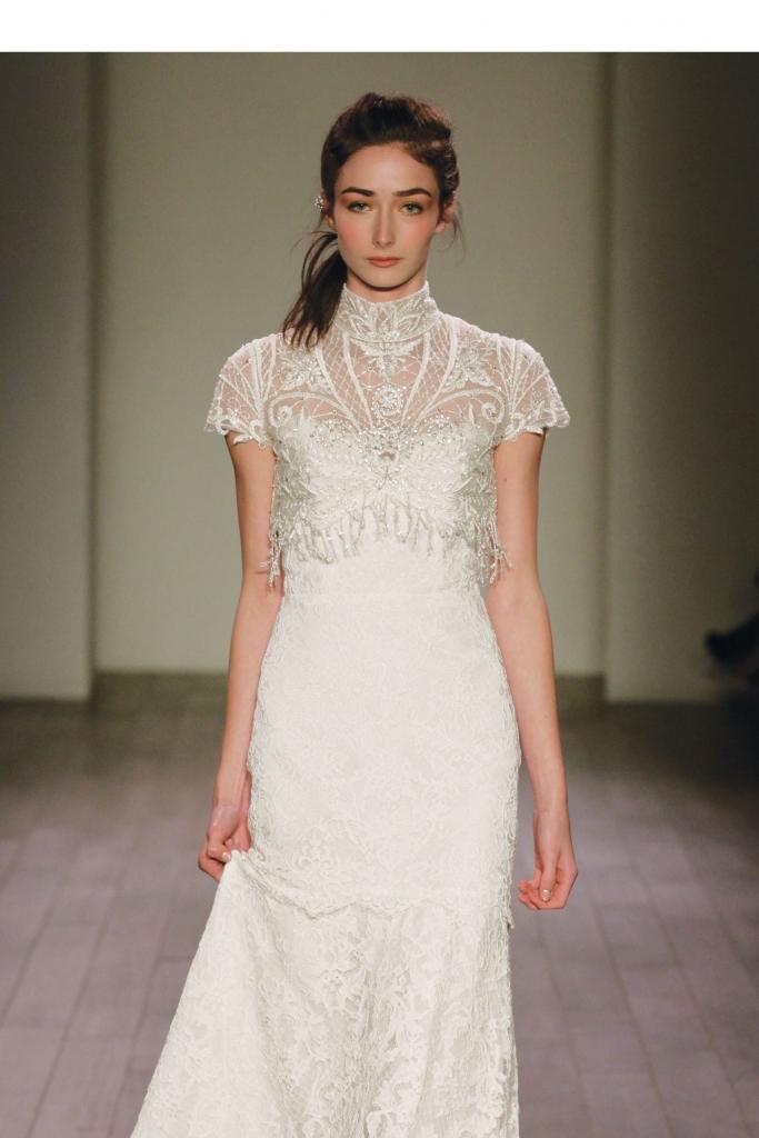 {Timeless Trend} Mock Neck; gown: style AV 9606 by Alvina Valenta; White on Daniel Island