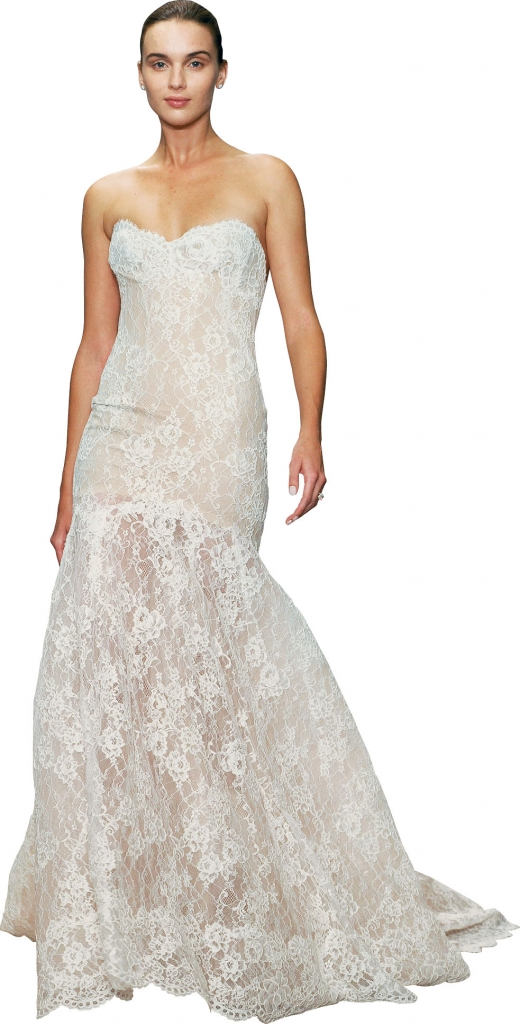 """{Timeless Trend} Scalloped Lace Hemline; gown: """"Farren"""" by Monique Lhuillier; Maddison Row"""
