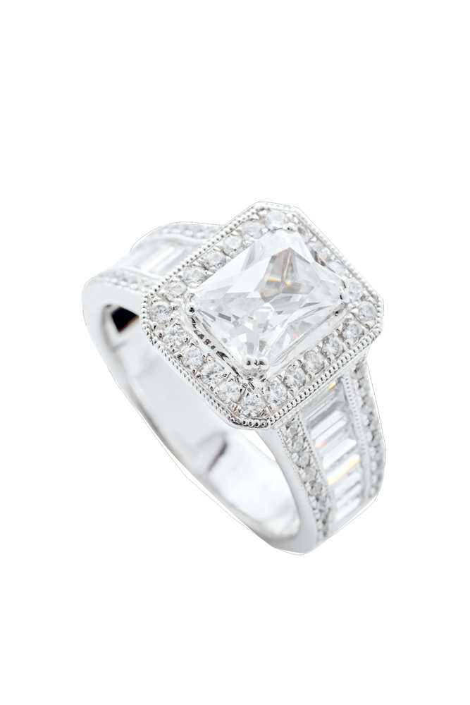 14K white-gold setting  with diamonds (1.35 total cts.) from REEDS Jewelers ($9,625; setting only)    <i>Photograph by Christopher Shane</i>