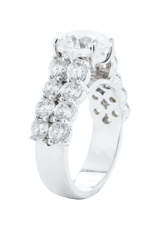 14K white- gold setting  with diamonds  (2.3 total cts.)  from REEDS Jewelers ($8,150; setting only)   <i>Photograph by Christopher Shane</i>
