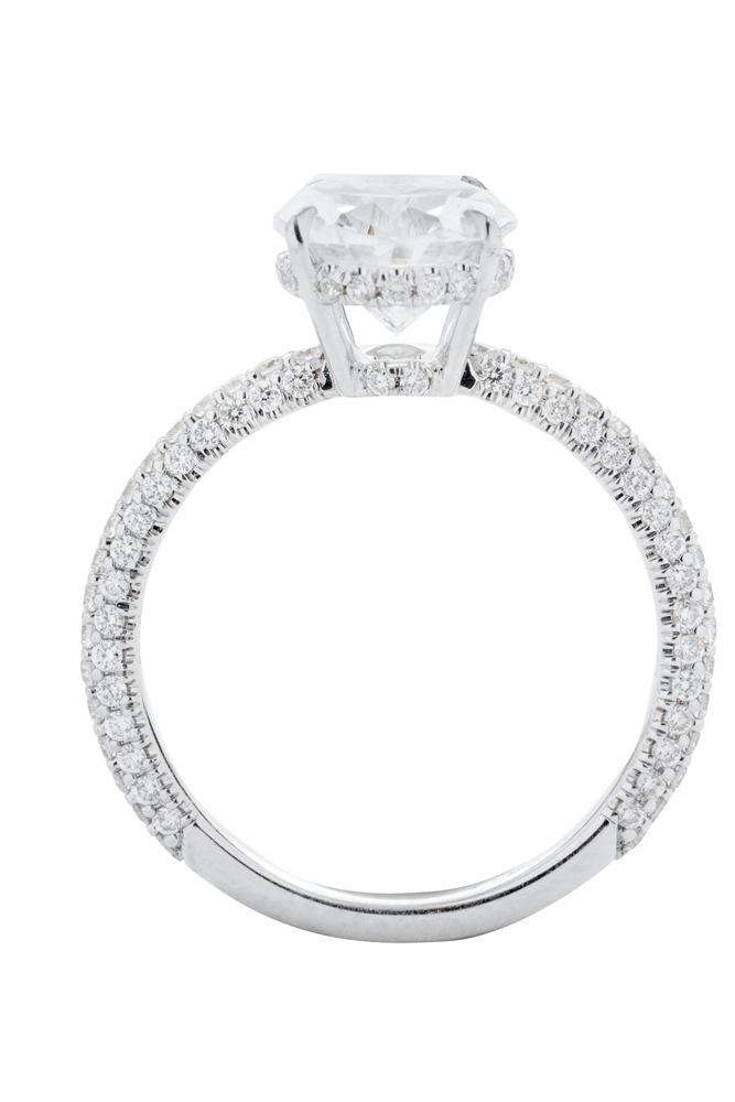 C. Gonshor's 18K white- gold setting with pavé  diamonds (.7 total  cts.) from Diamonds Direct (price upon request)    <i>Photograph by Christopher Shane</i>