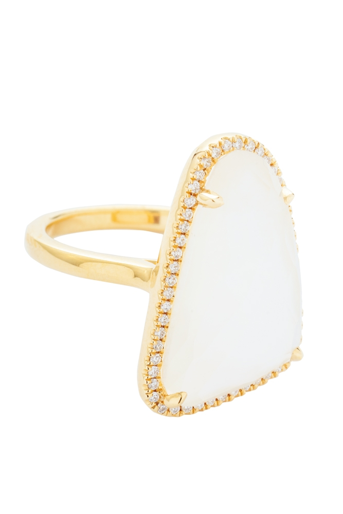 18K yellow-gold ring with 10.3 ct. white topaz and mother-of-pearl center stone and accent diamonds (.18 total cts.) from Gold Creations ($2,500)   <i>Photograph by Christopher Shane</i>