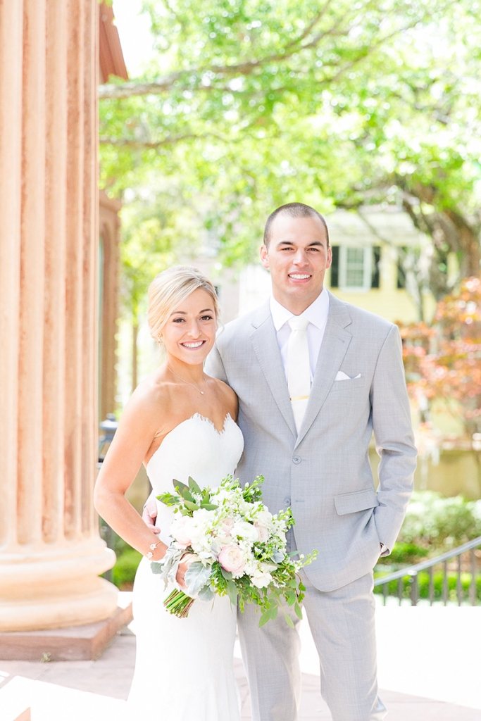 The couple snapped portraits at the College of Charleston Cistern pre-ceremony.  Image by Dana Cubbage Weddings