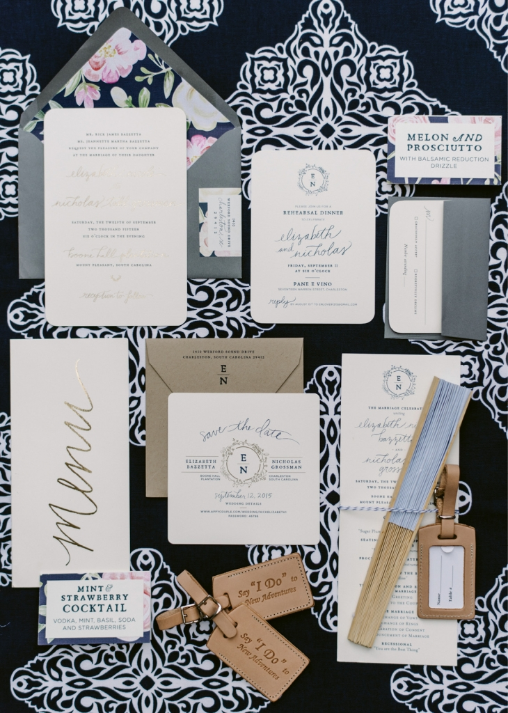 """Studio R concocted a suite of paper goods in the couple's navy, blush, and gold palette. Custom leather luggage tags stamped with """"Say 'I do' to new adventure"""" were used for place cards and gifted as favors. (Photograph by Sean Money + Elizabeth Fay)"""