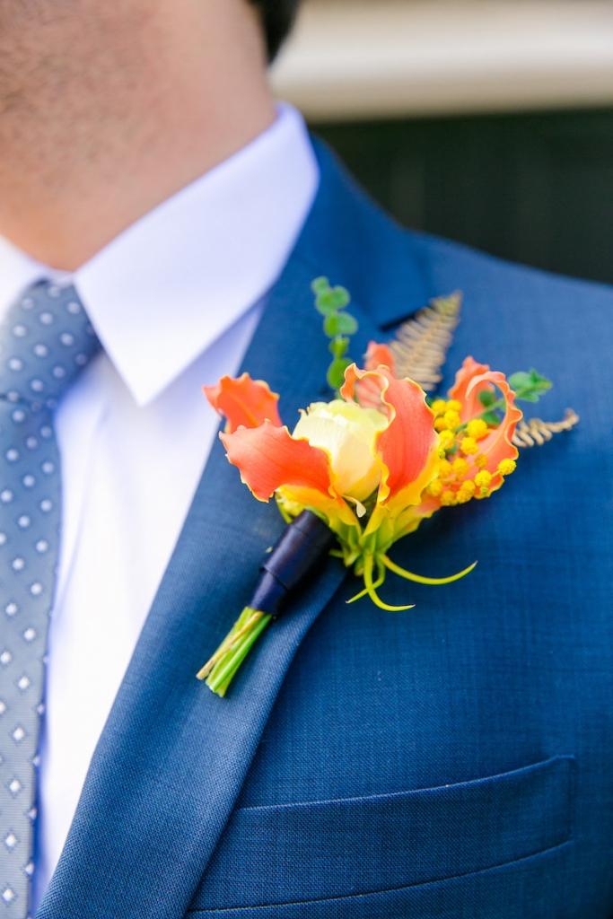 Boutonnière by Branch Design Studio. Suit from Jos. A. Bank. Photograph by Dana Cubbage Weddings.