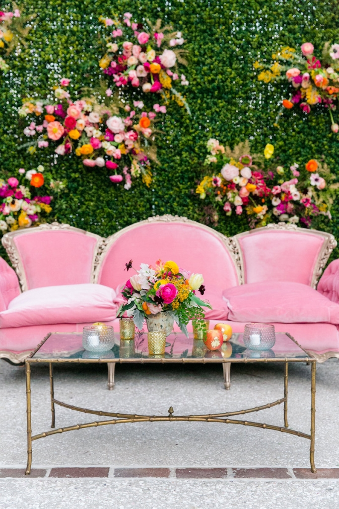 Wedding design by ELM Events. Vintage lounge furniture from 428 Main Vintage Rentals. Florals by Branch Design Studio. Photograph by Dana Cubbage Weddings at the Gadsden House.