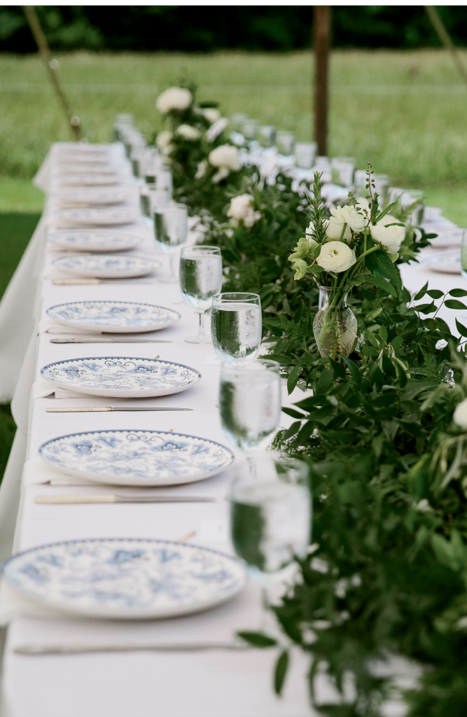 Tableware paid homage to Liz's  collection of blue-and-white china—a hobby that stems from fragments she found on the property as a child.  <i>Photograph by Olivia Rae James</i>