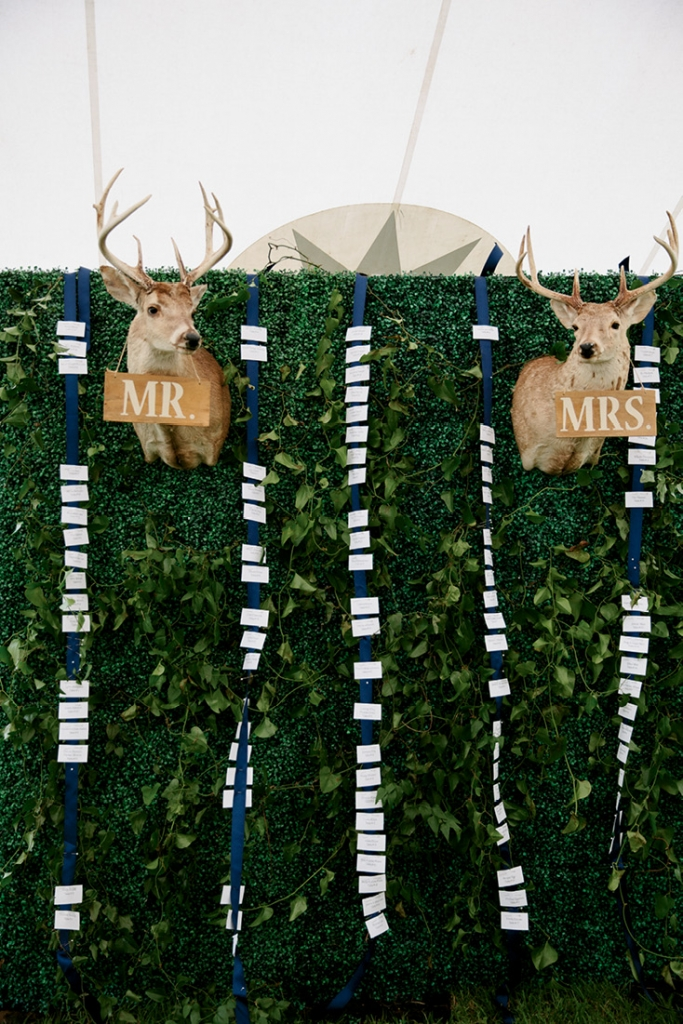 """Two Kulze family hunting  trophies wore """"Mr."""" and """"Mrs."""" signs and headed up the escort card wall.  <i>Photograph by Olivia Rae James</i>"""