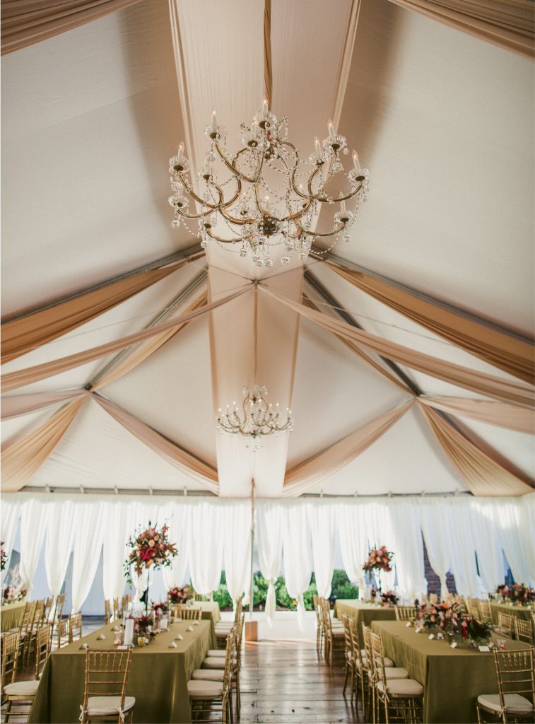 Blush and copper draping and crystal chandeliers created a dreamy tentscape. (Image by Juliet Elizabeth Photography)