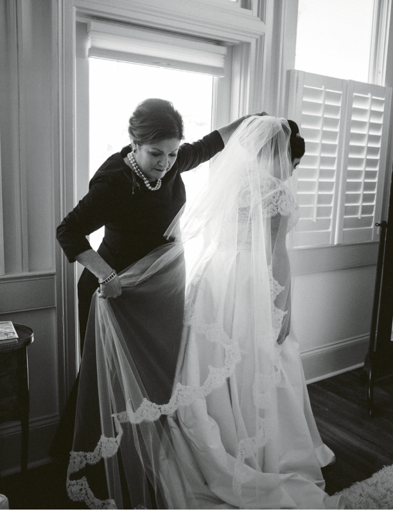 """Readers know her as novelist Dorothea Benton Frank, but Victoria knows her as mom. """"All my mom and I do is laugh together, but when she helped me with my veil, it brought us both to tears."""" (Image by Juliet Elizabeth Photography)"""