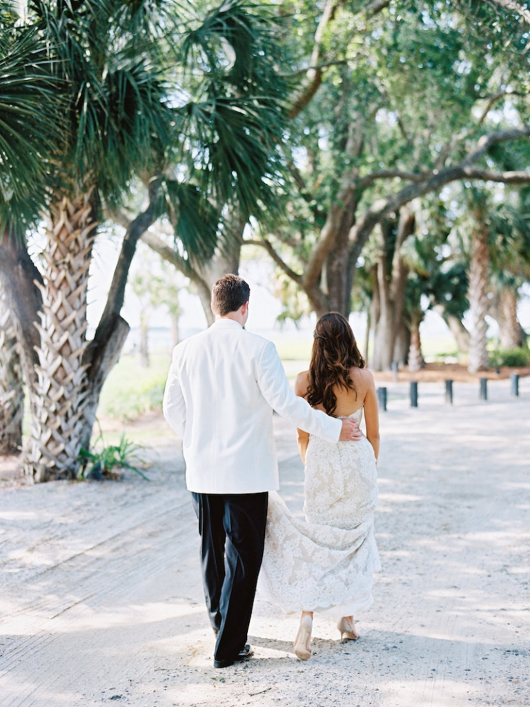 Bride's gown by Anne Barge, available in Charleston through White on Daniel Island. Groom's attire from Mens Wearhouse. Image by Ryan Ray Photography at Lowndes Grove Plantation.