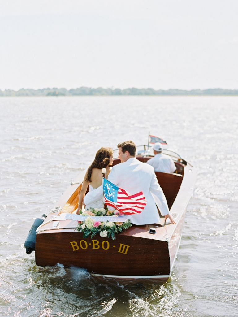 Getaway boat from Classic Boat Charleston. Image by Ryan Ray Photography at Lowndes Grove Plantation.
