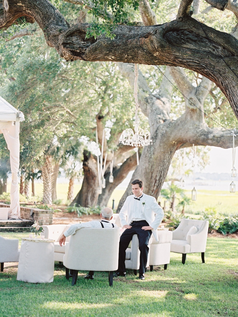 Lounge furniture and décor from Ooh! Events. Lighting by Technical Event Company. Image by Ryan Ray Photography at Lowndes Grove Plantation.