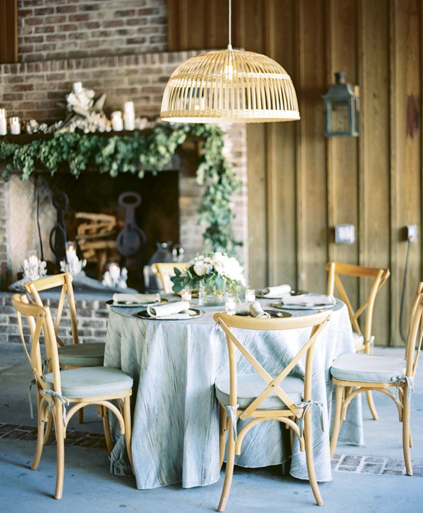 Perfect for a Lowcountry seafood roast, pendant basket shades like this evoke the rustic world of oystering.