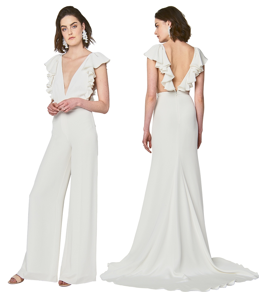 """Flirty Ruffles - Looks: """"Lucy"""" bodysuit with """"Harlow"""" slacks (near right) and """"Lucy"""" gown (far right), all by Alexandra Grecco Boutique: Lovely Bride"""