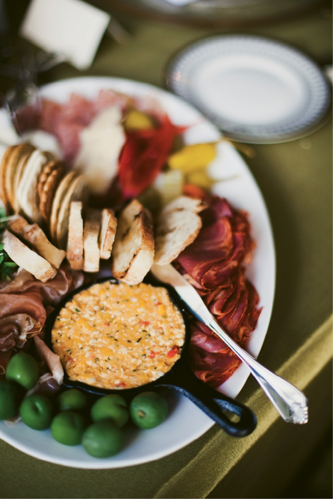 """""""We wanted a menu that was a little different,"""" says the bride. """"Cru Catering was excited to work with us on it not at all scared of tackling such a food fest."""" Case in point: this antipasto plate.  (Image by Juliet Elizabeth Photography)"""