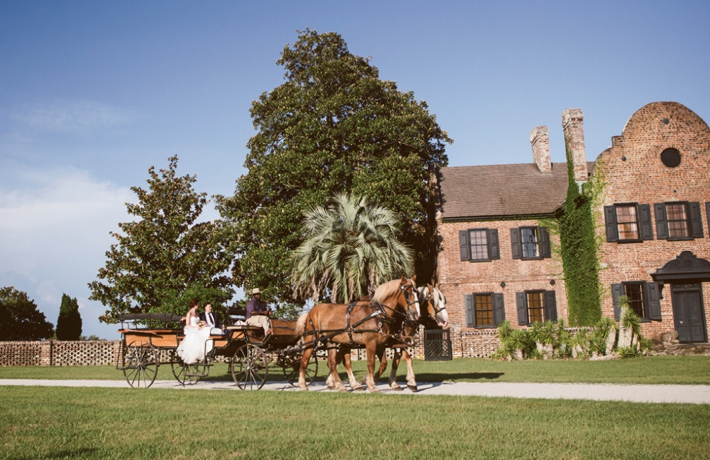 Catherine and Jared arrived at their reception in true Charleston style: by horse.  <i>Amelia + Dan Photography</i>