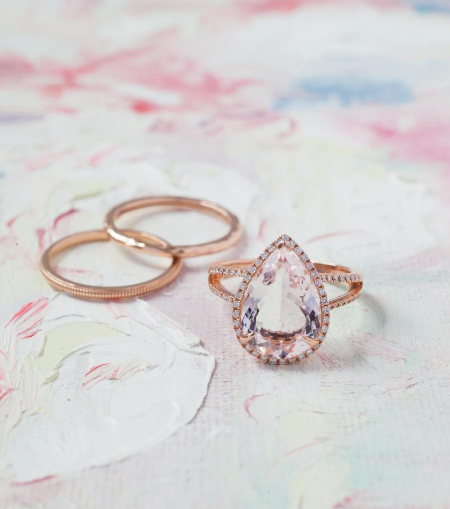(from left) 14K rose gold bands from Gold Creations,  $195 (ridged) and $260 (hammered). 14K rose gold ring with 4.53 ct. morganite center and diamonds  (.33 total cts.) from Diamonds Direct, $3,500. Artwork by Natalie Taylor Humphrey