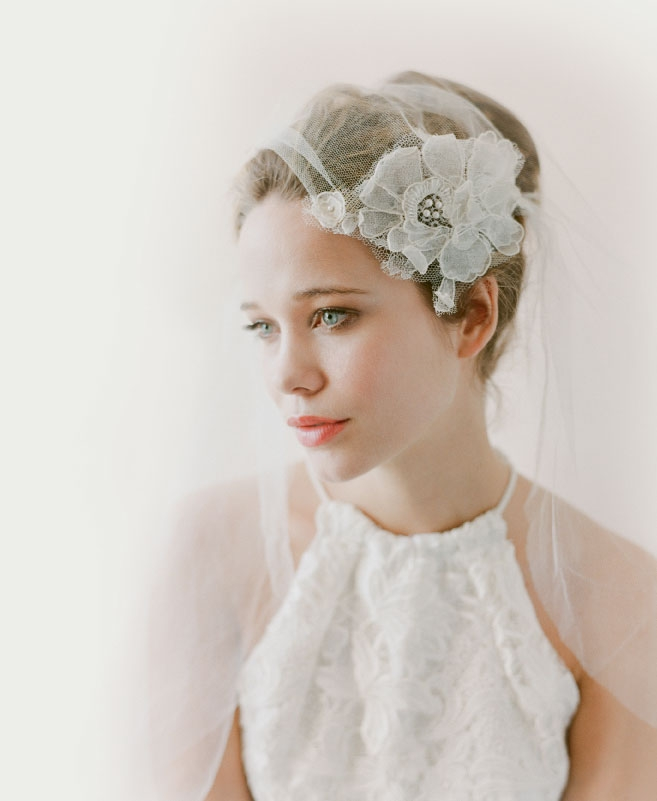 """Katherine McDonald's  """"Essex"""" silk lace halter top from Kate McDonald Bridal. Twigs & Honey's no. 566 veil from LulaKate."""