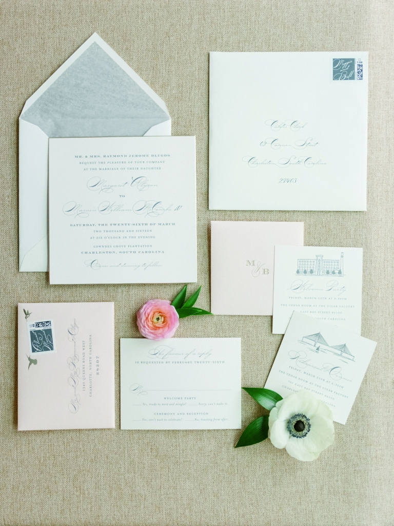 """The Cheree Berry stationery suite bore iconic elements of the Holy City (the Ravenel Bridge, Old Citadel, etc.) and foreshadowed what Calder called the day's """"Carolina traditional"""" look. <i>Image by Lucy Cuneo Photography</i>"""