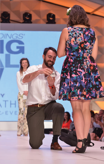 Spring Bridal Show: Photographer Clifford Pate proposes to Lauren Miller. Photograph by WeddingHeadline.com